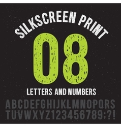 Silkscreen print style letters and numbers vector image