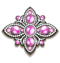 silver brooch with pink pearls vector image