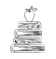sketch blurred silhouette of stack of books with vector image