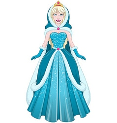 Snow Princess In Blue Dress Cloak And Hood vector