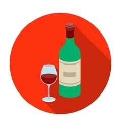 Spanish wine bottle with glass icon in flat style vector