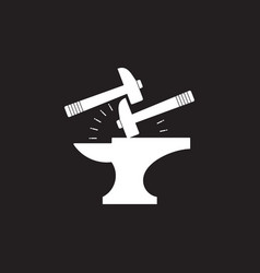 Spark iron hammer blacksmith symbol logo vector