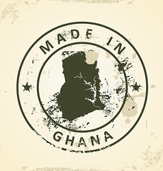 Stamp with map of Ghana vector image