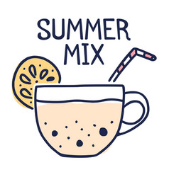 summer mix concept tea cup with lemon and bubble vector image