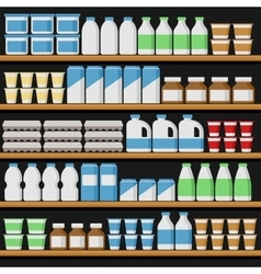Supermarket Shelfs with Milk Products vector image