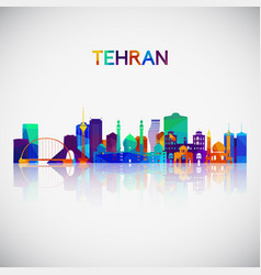 Tehran skyline silhouette in colorful geometric vector