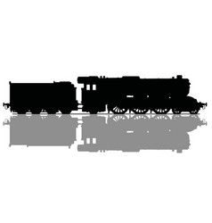 The black silhouette of a vintage steam locomotive vector