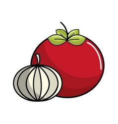 Tomato and garlic vegetable icon vector