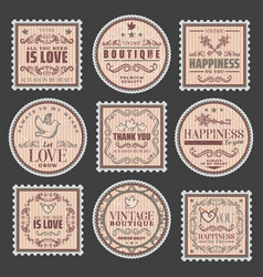 vintage romantic colored stamps set vector image