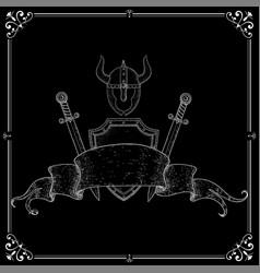 warrior accessories shield swords helmet vector image
