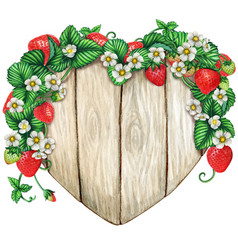 watercolor wooden heart sign covered vector image
