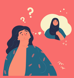 Woman thinks whether to wear her hijab vector