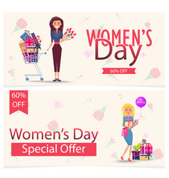 womens day special offer 60 off advertisement vector image