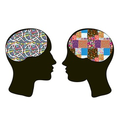 Brains and thinking concept of man and woman vector