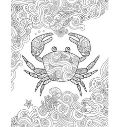 coloring page ornate crab and sea waves vertical vector image