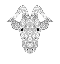 Goat head Coloring for adults vector image vector image
