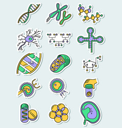 science icons set with genetic and vector image vector image