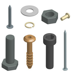 set of fasteners in 3d vector image