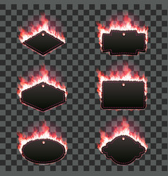 set of six frames surrounded with red flame vector image vector image