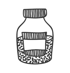 silhouette monochrome bottle with salt and pepper vector image