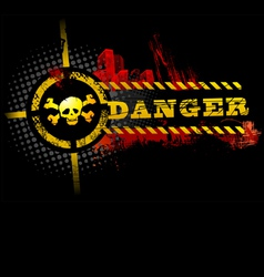 Black urban grunge danger skull detailed vector