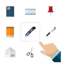 Flat icon tool set of pushpin clippers letter vector