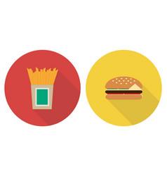 flat set french fries and hamburger vector image
