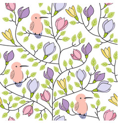 floral seamless hand drawn pattern with birds and vector image