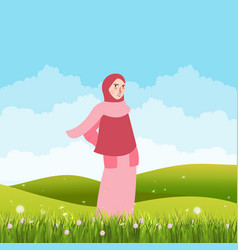 girl standing alone in green field land wearing vector image vector image