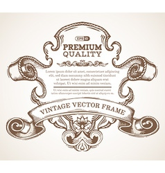 vintage border frame with retro ornament vector image vector image