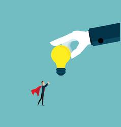 businessman receiving big bulb idea from big vector image vector image