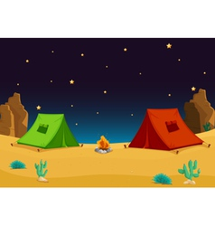 Camping in the desert vector image