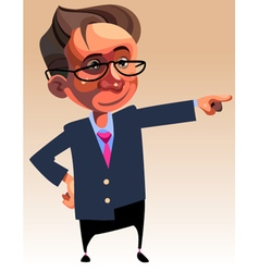 cartoon character man in suit and glasses showing vector image vector image
