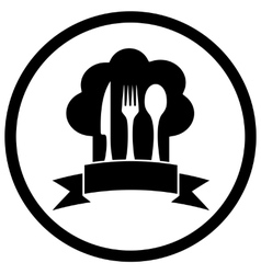 chef hat with kitchen ware vector image