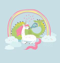 cute cartoon dragon with unicorn vector image vector image