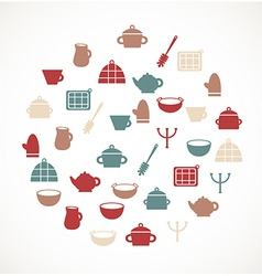 Kitchen symbols vector image vector image