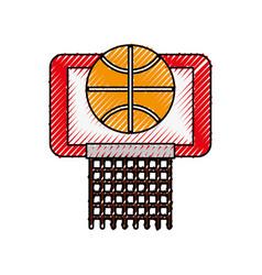 Scribble basket ball in the hoop cartoon vector