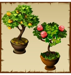 Two trees bonsai with coins and flowers vector image vector image