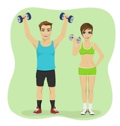 Young couple exercising with dumbbells together vector image vector image