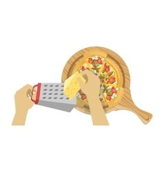 Child Cooking Pizza With Only Hands vector image