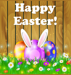 easter eggs in grass vector image vector image