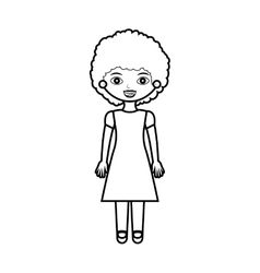 Lady silhouette with dress and curly hair vector