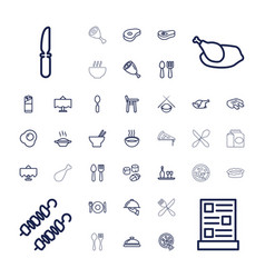37 dinner icons vector