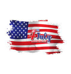 4th of july text design on abstract american flag vector image