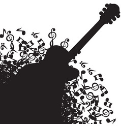 Abstract black background with guitar and notes vector