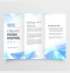 Abstract blue triangle trifold brochure design vector