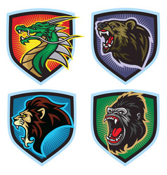 animals esports logo set dragon lion bear gorilla vector image