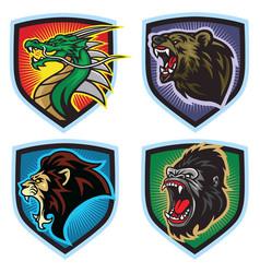Animals esports logo set dragon lion bear gorilla vector