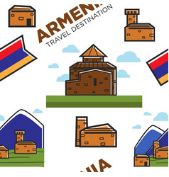 armenian architecture and nature mountains and vector image