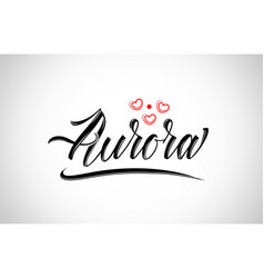 Aurora city design typography with red heart icon vector